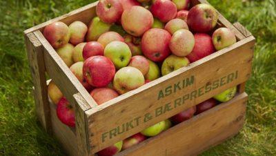 Gammel AFB eplekasse med epler
