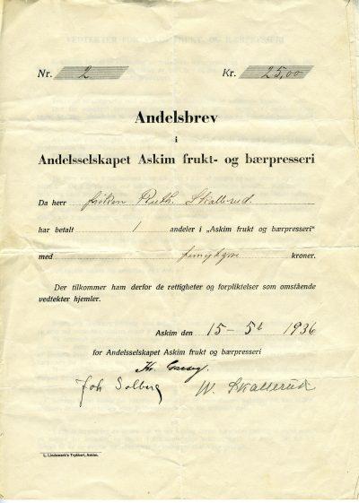 Afb Andelsbrev